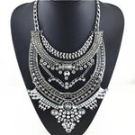 SILVER WARRIOR Crystal Statement Necklace, [product_tags] - Let's Boho