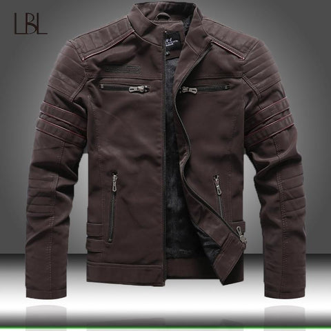 Image of 2020 Autumn Winter Men's Leather Jacket Casual Fashion Stand Collar Motorcycle Jacket Men Slim High Quality PU Leather Coats