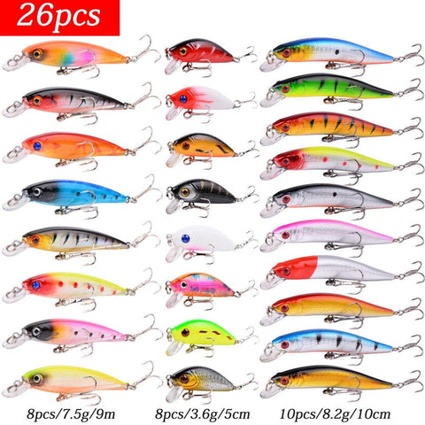 Mixed Fishing Lure Kits Crankbait Minnow Popper VIB Soft Lure Bass Baits wobbler Set Lifelike Fake Fishing bait Tackle