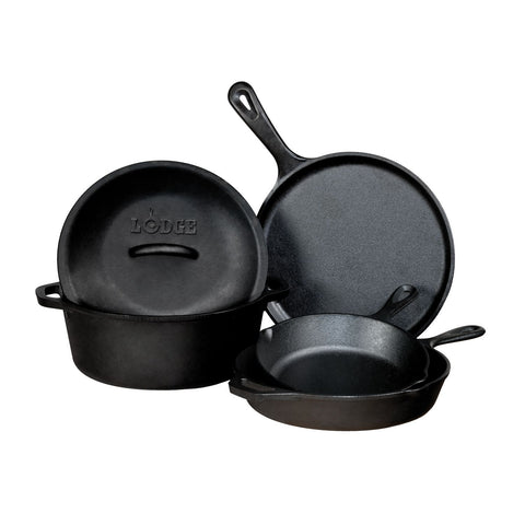 Lodge 5 Piece Seasonsed Cast Iron Cookware Set