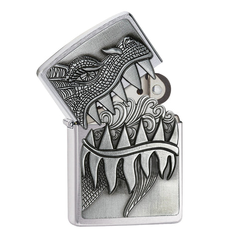 Zippo Brushed Chrome Fire Breathing Dragon Lighter