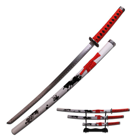 Samurai Katana Sword Set of 3 Red Wrap Handles Wht Scabbard
