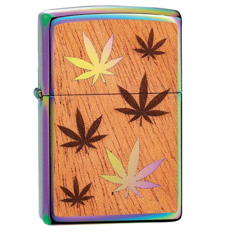 Zippo Multi Color Finish Woodchuck Mahogany Leaves Lighter