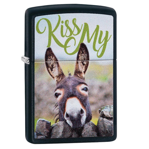 Zippo Matte Black Kiss My Donkey Lighter