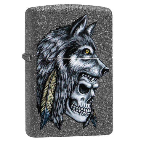 Zippo Iron Stone Wolf Skull Feather Design Lighter