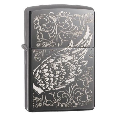 Zippo Black Ice Filigree Flame and Wing Design Lighter
