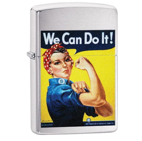 Zippo Brushed Chrome US Army We Can Do It Design Lighter