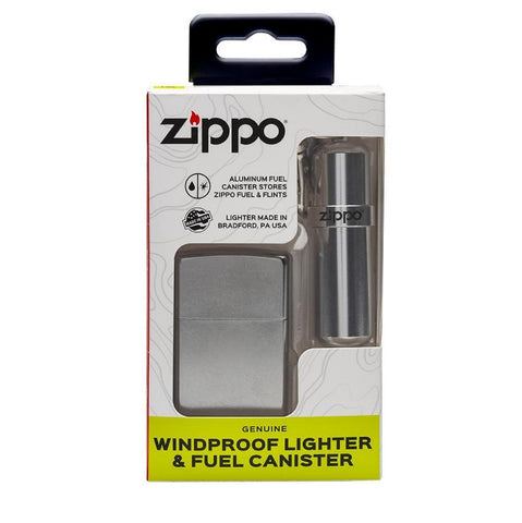 Zippo Street Chrome and Fuel Canister Combo Set