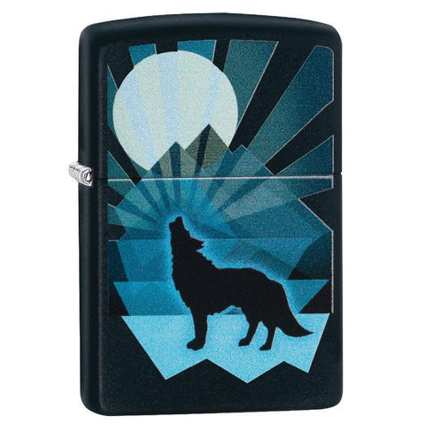 Zippo Matte Black Wolf and Moon Lighter