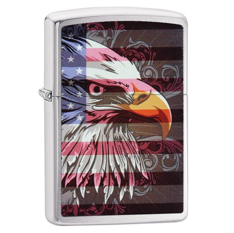 Zippo Brushed Chrome Eagle Flag Lighter