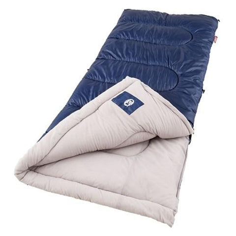 Coleman Brazos 75x33 Inch Rectangle Sleeping Bag Navy Beige