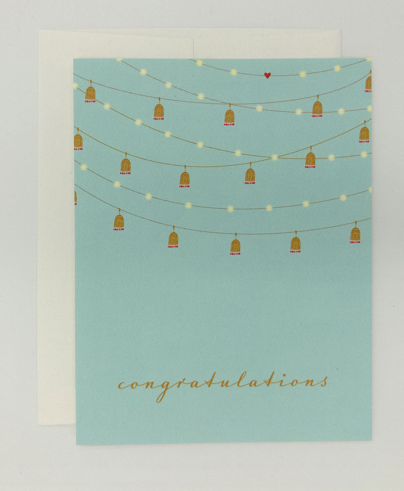 Say congratulations with this beautiful recycled greeting cards with string lanterns. Perfect wedding congratulations card.