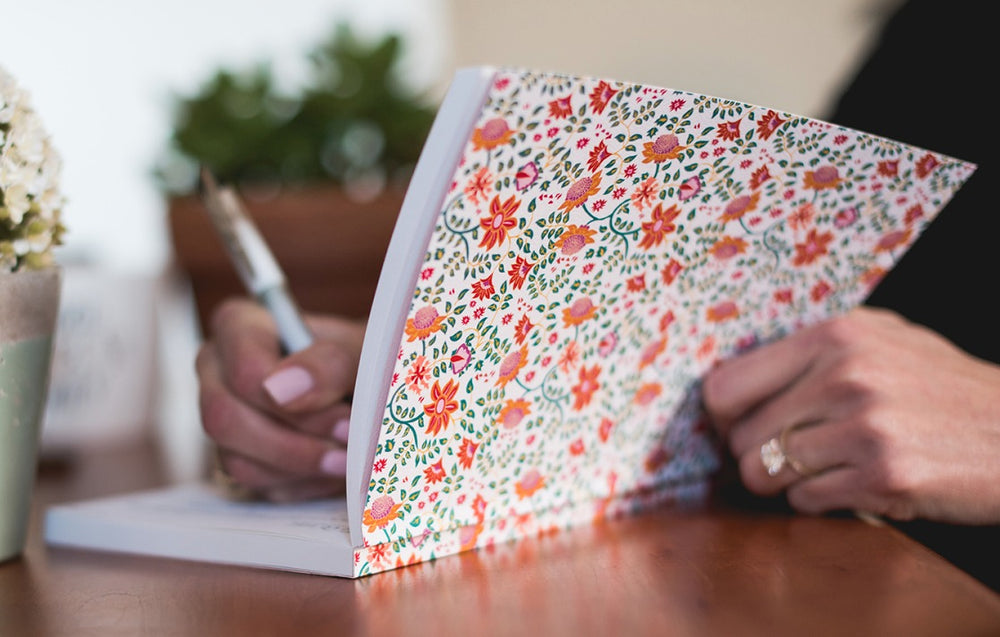 wers personal journal. Notebook with summer flowers, blank, unlined pages of 100% recycled paper. High quality paper notebook. An eco journal, perfect everyday journal