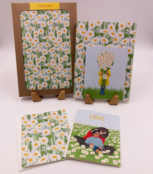 Field of daisies card. Daisy flowers greeting card, blank inside and 100% recycled.