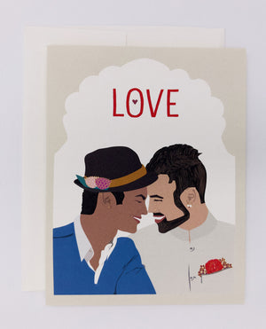 Love is love greeting cards. Perfect for same sex couple, same sex marriage card. Greeting card for men, love card.