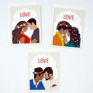 Love cards set with three love is love greeting cards. Love cards representing same sex couples and interracial couples. Perfect for valentine's day, couple's anniversary, wedding card.