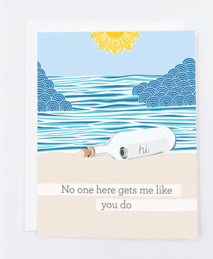 Message in a Bottle Greeting Card (Single)