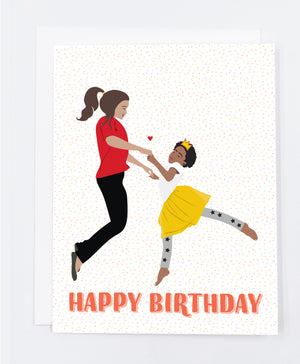Happy Birthday Woman & Child Greeting Card (Single)