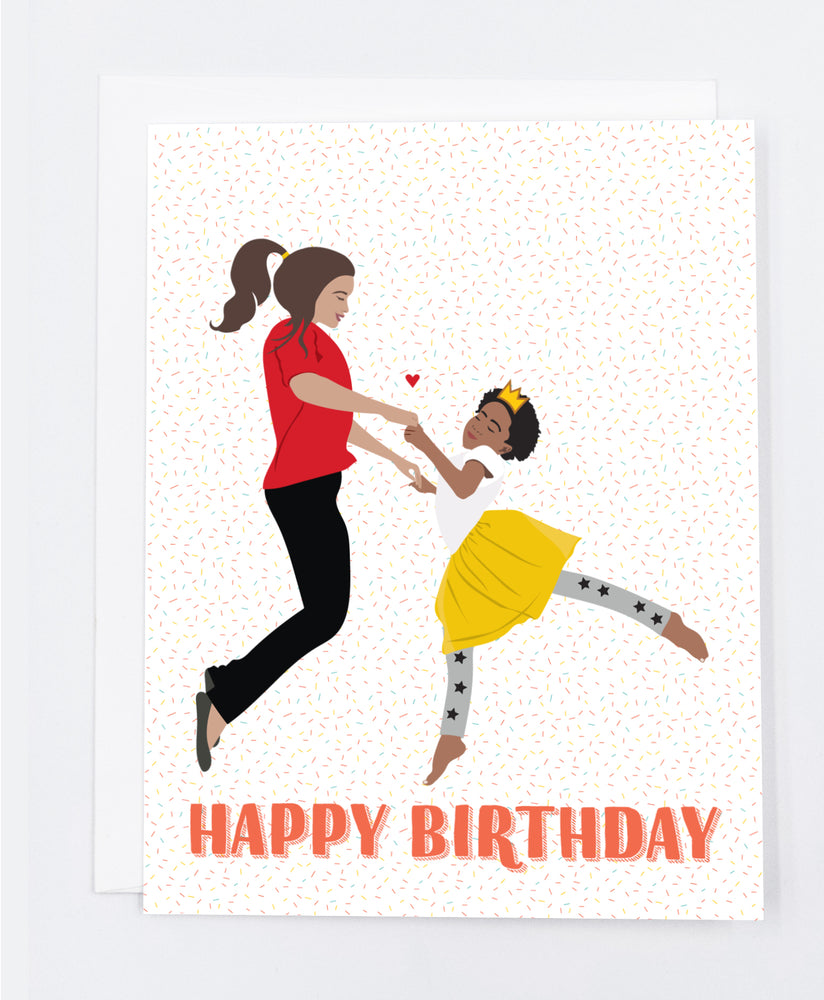 Happy Birthday Woman & Child Dance Greeting Cards (Pack)
