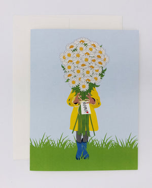 Mother's day card with bouquet of flowers. Daisies card from child to mom. Kid's card for mom to say happy mother's day.