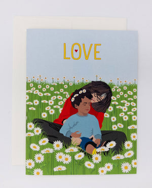 Mother's day card with field of flowers. Daisies card with child and mom. Say I love you mom and happy mother's day