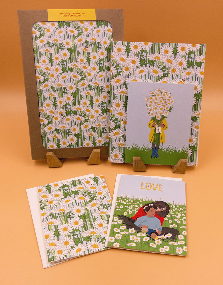 Mother's Day flowers collection. Mother's day card with field of flowers. Daisies card with child and mom.