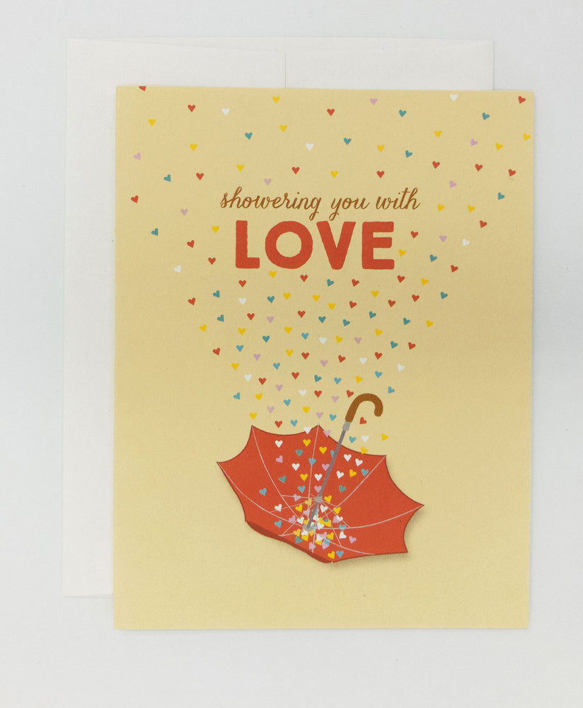 Baby shower or wedding shower greeting card. Showering you with love. Card is 100% recycled and blank inside.