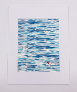 Water 3 Boats Art Print (8x10)