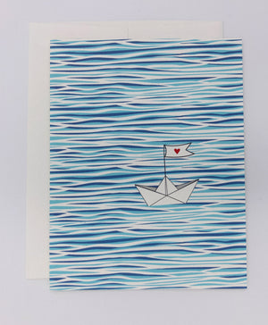 Water and boat greeting card. Peaceful summer ocean, water, boat scene. Paper boat with heart. Everyday greeting card, love card, thank you card.