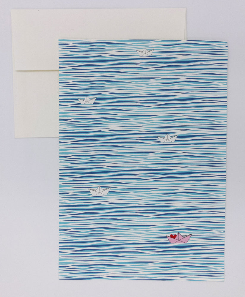 Water stationery with paper boats, writing set with envelopes and stamps. Mother's day gifts, wedding gifts, anniversary gifts, paper anniversary. Keepsake letter writing kit