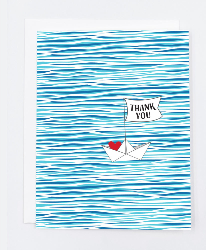 Water, Boat Thank you Greeting Cards (Pack)