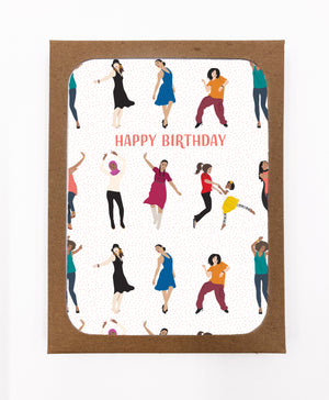 Happy Birthday Women Dancing Greeting Cards (Pack)