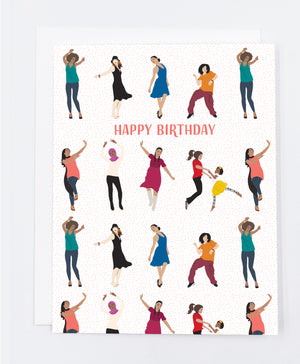 Happy Birthday Women Dancing Greeting Card (Single)