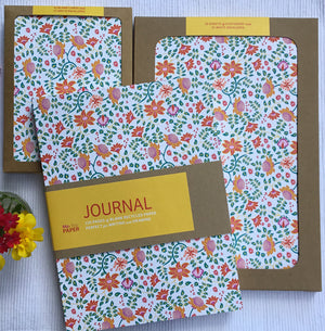 Flowers writing collection, including cards, stationery and summer flowers journal. High quality paper notebook for writing or drawing.