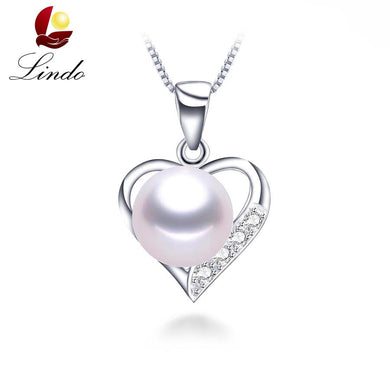 Lovely heart pendant necklace 100% genuine natural freshwater pearl necklace&pendant