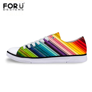 Colorful Striped Casual Vulcanize Shoes For Women Classic Low Style Canvas Shoes Women