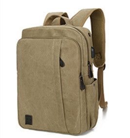 Casual Men Canvas Laptop Backpack College Student School Backpack for Teenagers Rucksack USB Charge