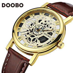 Mens Watches Luxury Military Sport Wristwatch Leather Hollow
