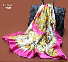 1PC 90*90cm Elegant style  wagon & chain printed square satin