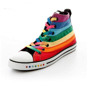 Canvas Shoes Female Shoes Casual Flat Woman Shoes Rainbow