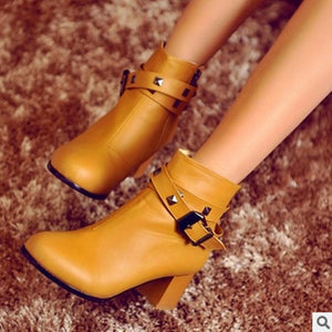 Zipper Warm Winter Boots Fashion Plus size 43 High heels Women Pumps Pointy Toe Botas