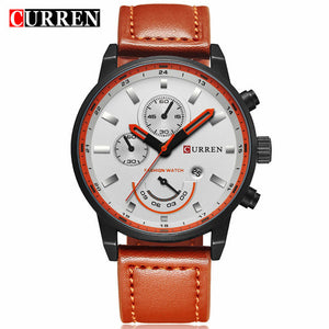 Brand Luxury Leather Quartz Watch Men's Fashion Casual Sport Male Clock Men