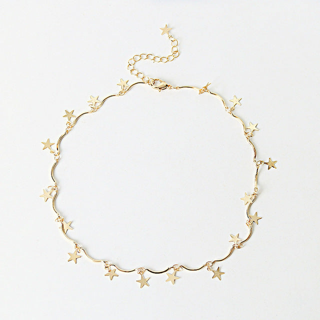 Gold Color Chain Tiny Star Choker Necklace for Women Bijou Necklaces