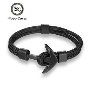 Black Anchor Bracelets Men Hope Anchor Bracelet Pulsera Navy Hand Lucky Survival
