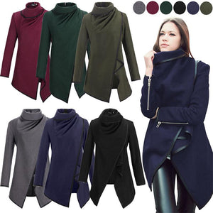 Asymmetric Trench Women Winter Woolen Overcoat Woolen Coat 5 Colors