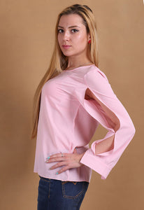 Women's Solid Loose O-Neck Chiffon Shirt  Long Sleeved  Candy