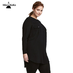 Women Plus Size Button Down Two Pockets Front Shirt Long Sleeve Solid Color Basic Tops Large Size