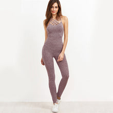 Jumpsuit Cage Neck Sexy Skinny Women Casual Knit