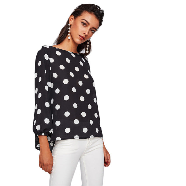 Sheinside Polka Dot Blouses Women Bow Back Long Sleeve Autumn