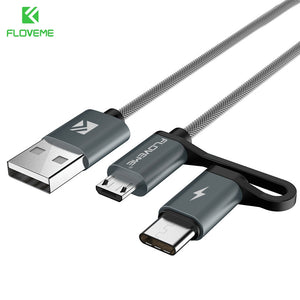 2 in 1 QC 3.0 Micro USB Type C Cable Fast Charging Type-C Charger USB-C